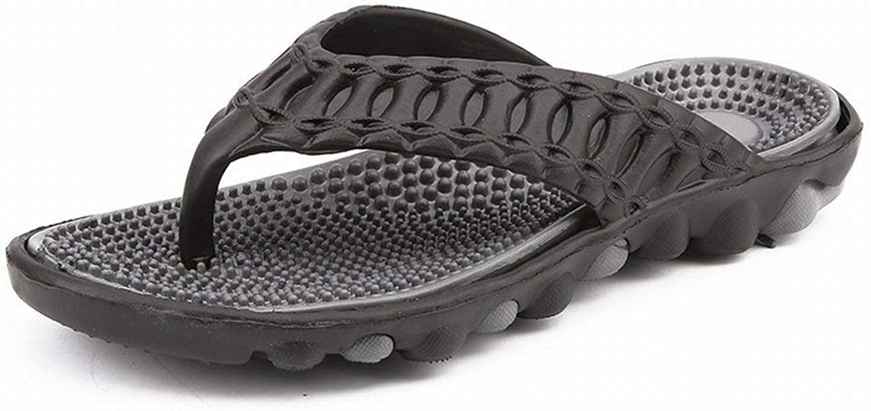 FuweiEncore Men's Sandals Sandals Slipper Fashion Massage Flip Flop Men Sandals & Slippers (color   Black grey, Size   45)