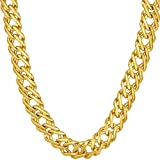 LIFETIME JEWELRY 7.7mm Venetian Chain Necklace for Women & Teen 24k Gold Plated (24)