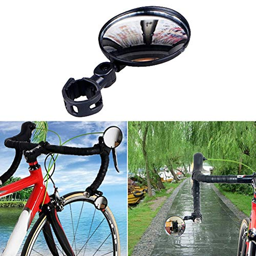 Clenp Fahrradrückspiegel - Am Fahrradlenker 360-Grad-Weitwinkel-Fahrradspiegel Drehen, Fahrradrückspiegel Für Radfahrer Schwarz 7,5 cm