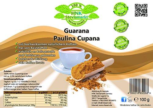 Reines Guarana Paulina Cupana Koffein Pulver pur | Energy Drink Pulver | 100% Natürlich | OHNE chemische Zusatzstoffe | 1er Pack (100 g)