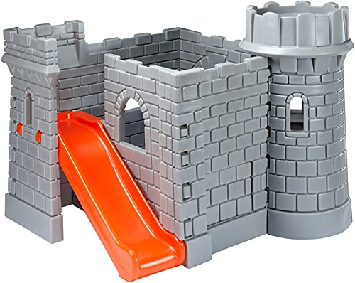 Little Tikes Classic Castle - Garten Spielhaus - Ritterburg- Aussichtsturm, Rutsche, leicht zu Erklimmen - Fördert Aktives und Einfallsreiches Spielen - Ab 24 Monaten bis 6 Jahren - Stein Design