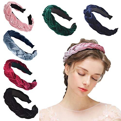 6 Stück Haarreifen Damen verdrehtes geflochtenes Haarband elastische Drehung Haarreif rutschfestStirnband Haarschmuck für Mädchen Frauen Damen Braut Geburtstag (6 Farben)
