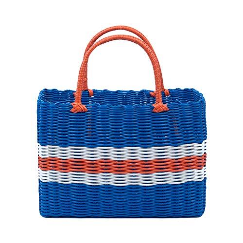 Storage Basket Bath Wash Basket Bath Basket Plastic Portable Vegetable Shopping Storage Basket 30 * 21 * 13cm ZHJING (Color : Blue)