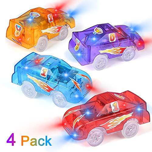 Funkprofi Spielzeugauto Set ab 3 Jahren, 4 Pack Kinderspielzeug mit 5 LED Spielzeugautos Set für Kinder Elektrische Rennstrecke mit Bus, Abschleppwagen, Feuerwehrauto und Offroad Polizeiautoder