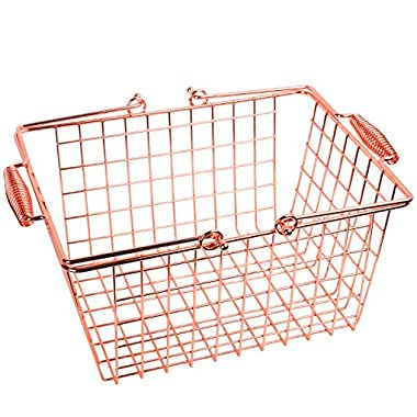 Kufox Multipurpose Glossy Rose Golden Plated Metal Basket,Useful Bling Bling Wire Food Storage Tray With Comfortable Handles,Medium,Idea For Kitchen Supplies, Pantry, Party Organizer, Rose Gold