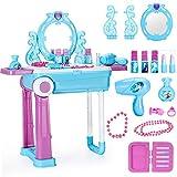 Zxllyntop Tragbarer Schminktisch, Kinderspielhaus Frisierkommode Beauty Spielzeug Koffer Set Prinzessin Schminktisch Geschenk für Kinder Mädchen Kinder (Farbe : Blau, Size : 63x53x24.5cm)