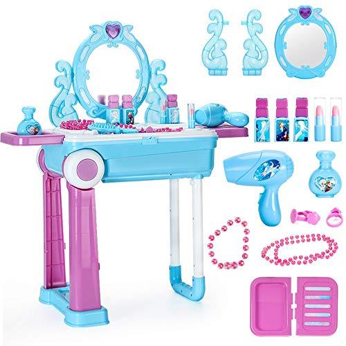 YBWEN Kinder Frisiertisch Kinderspielhaus Frisierkommode Beauty Spielzeug Koffer Set Blaue Prinzessin Schminktisch Vanity Licht Spiegel Spielset (Farbe : Blau,...