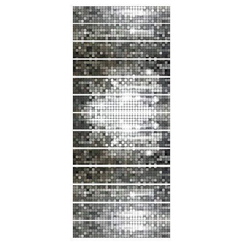 ZDDBD Vinilos Adhesivos para La Pared, Impermeable Extraíble Etiqueta De Pared DIY, 3D Auto-Adhesivos Pegatinas De Escalera 18 * 100Cm * 13Pcs- Mosaico De Plata