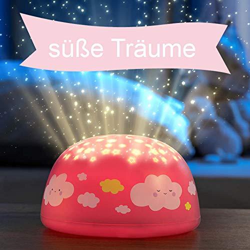 """LED Nachtlicht für Kinder""""rosa Wolken"""", Sternenprojektor, Farbwechsel Modi für Kleinkinder und Kinder, 5 Wiegelieder und 30 Minuten Timer"""