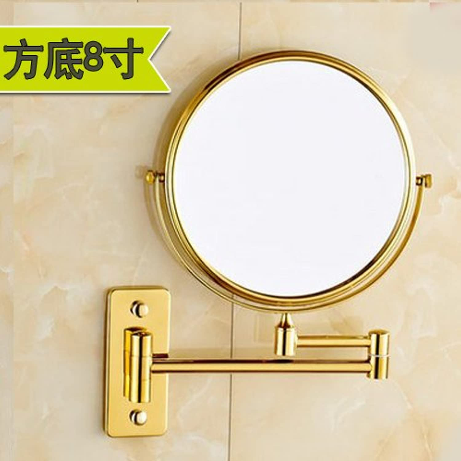 Continental gilt mirror bathroom mirror copper and double-sided folding magnifying endoscopy wall mount makeup mirror 1. gold-plated copper