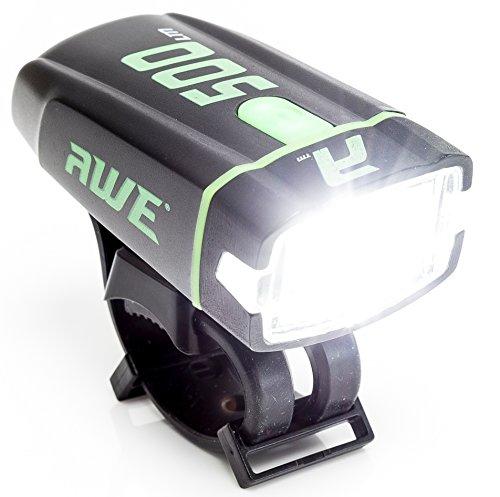 AWE AWE500 1 x Luz delantera LED USB recargable para bicicleta 500 lúmenes extremadamente brillante