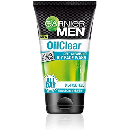 Garnier Men Oil Clear Clay D-Tox Deep Cleansing Icy Face Wash, 100gm