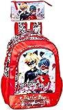Ladybug & Cat Noir - Mochila y estuche para niña, color rojo