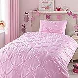 Kids Comforter Sets, 3 Pieces Pink Pintuck Comforter Sets for Girl Teen Kids Bedroom,Super Soft Light Weight Microfiber Bedding Set for All Season,Queen/Full Size