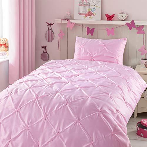 Kids Comforter Sets, 2 Pieces Pink Pintuck Comforter Sets for Girl Teen Kids Bedroom,Super Soft Light Weight Microfiber Bedding Set for All Season,Twin Size
