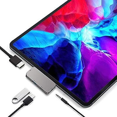 USB C Hub adapter for iPad Pro 2020/2018,RREAKA 4 in 1 Type C HUB Adapter for iPad Pro with USB C PD Charging,4K HDMI,USB 3.0,3.5mm Audio Jack Compatible for iPad Pro 2020 11/12.9