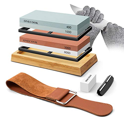 ONECOOK Knife Sharpening Stone Set 400/1000 3000/8000, Complete 4 Side Grit Whetstone Sharpening, Non-slip Bamboo Base, Angle Guide, Coarse Flattening Stone, Leather Strop and Cut Resistant Gloves