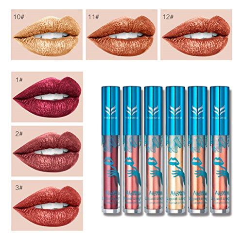 Frcolor 6 pcs Lip Gloss Set Non-bâton Tasse Métal Rouge À Lèvres Longue durée lèvres liquide Femmes Lip Repulpant Enhancer