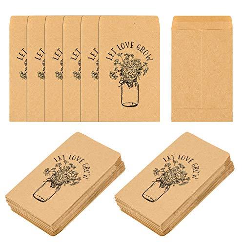 Self Adhesive Wedding Favor Seed Packets, CINPIUK 100PCS Let Love Grow Mason Jar Flowers Small Envelopes Rustic Wedding Favors