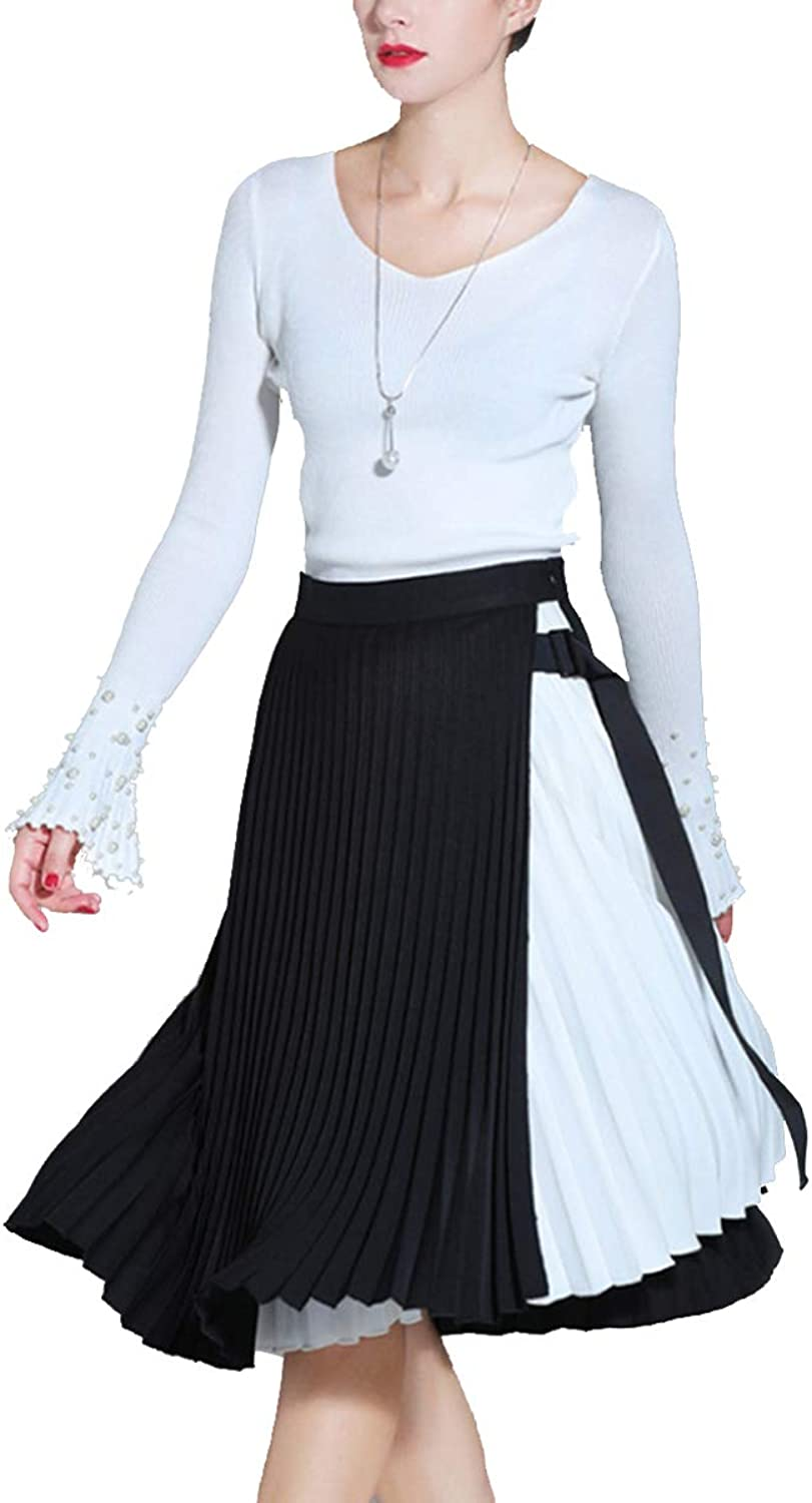Black White color Block Aline V Neck Flare Sleeve Women Swing Pleated Dress