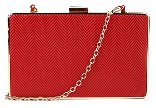 kukubird Molly Arrow Textured Clutch Zig Zag Party Prom Clutch Bag Purse with Dustbag - Red