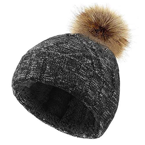 VBIGER Mütze Damen Strickmütze mit Warme Fleecefutter Wintermütze Beanie Mütze Bommelmütze für Mädchen und Frauen