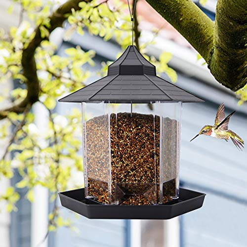 SAND MINE Panorama Bird Feeder, Hexagon Shaped with Roof Hanging Bird Feeder for Garden Yard...