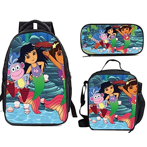 Do-ra The Exp-lorer - Mochilas escolares ligeras con bolsa de almuerzo para niñas y niños adolescentes y adolescentes