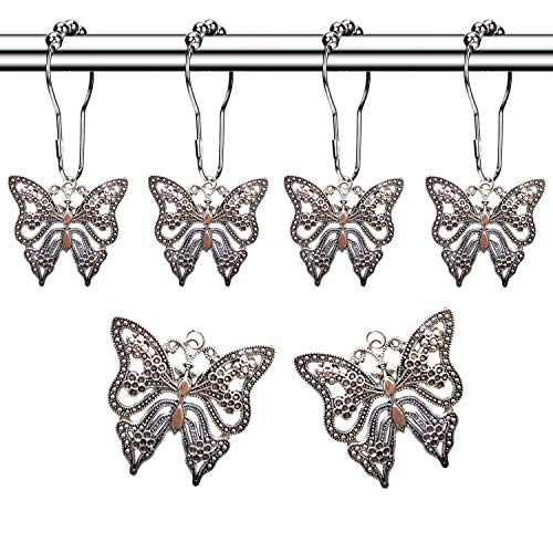 Molika Butterfly Shower Curtain Hooks Rings - Antique Silver Metal Curtain Hangers Decorative Bath Room Accessories Set - Farm, Garden, Park, Forest, Floral, Country, Village Theme Bathroom Decor