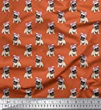 Soimoi Orange Satin Seide Stoff Mops Hund Stoff Meterware