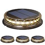 4pcs Luces solares de suelo LED Luz cálida Luces de disco solar al aire libre IP68 Luces subterráneas impermeables Luces solares de jardín Luces de paisaje para camino Patio Cubierta Patio Pasarela