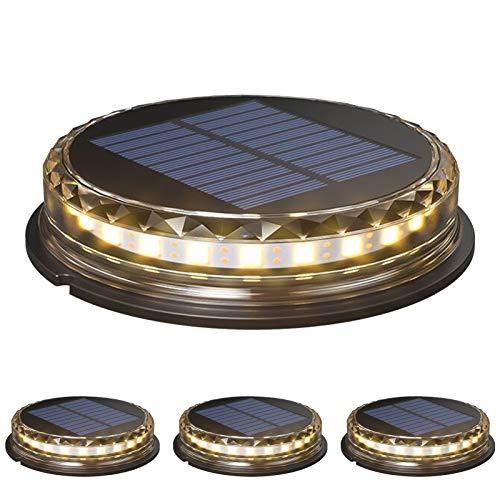 Decdeal Luce Solare da Giardino 4Pcs 17 LED, Lampade Solare a Terra Impermeabile IP65,Luci Solari da Terra Incasso per Esterni,Funzione di Rilevamento Automatico,con 1200mAh Batteria,Bianco Caldo