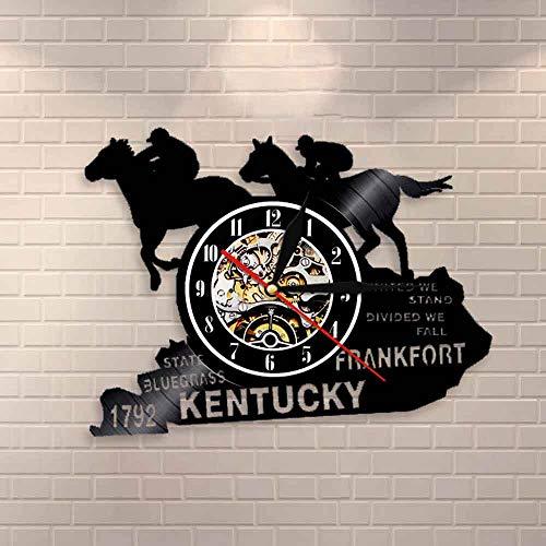 BFMBCHDJ Rennpferde Schallplatte Kunst Dekor Kentucky Pferd State Churchill Downs Derby Quarz Wanduhr Pferdesport Nachtlicht Lampe Keine LED 12 Zoll