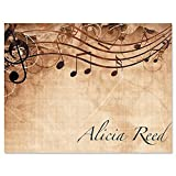 Sheet Music Personalized Note Card Set - 24 cards & envelopes, 4-1/4' x 5-1/2' blank inside, Add a Name, Music Teacher Gift, Musician Gift, Thank You Card
