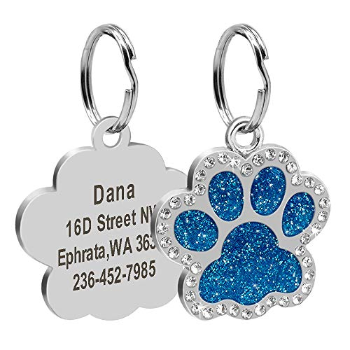 Didog Glitter Rhinestone Paw Print Custom Pet ID Tags,Crystal Stainless Steel Personalized Engrave ID Tags Fit Small Medium Large Dogs and Cats,Blue