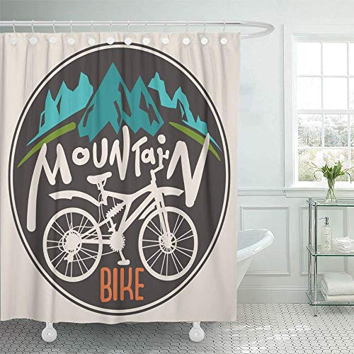 Ashsprt Shower Curtain Silhouette Retro Label Mountain Bike Hand Drawn Lettering Bicycle Cycle Sketch Drive Polyester Waterproof Fabric with 12 Hooks,72 x 72 Inches