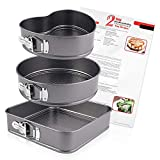 Springform Tin Cake Pan 3 Pieces/Set,Heart/Round/Square Tins Cheesecake Pan,Nonstick and Leakproof Cake Pan with Removable Bottoms(8'/9'/10') and 2 Springform Recipes Sheet
