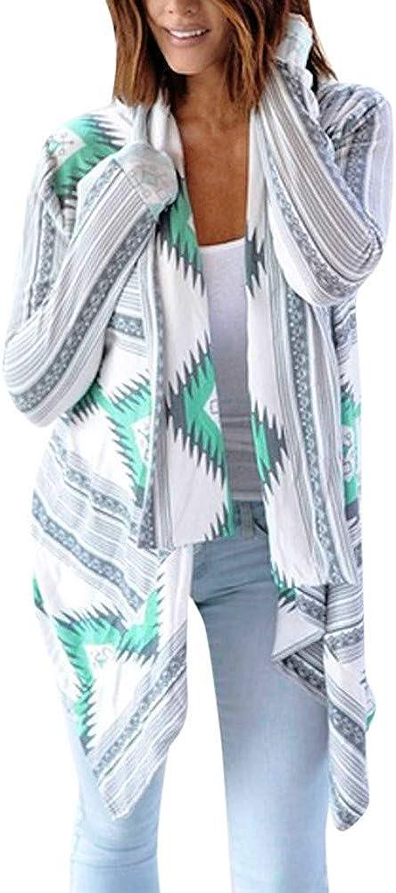 UOFOCO Women Cardigan Casual Geometric Print Long Sleeve Oversized Outerwear Loose Cardigan