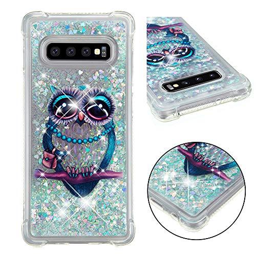 Funda para Samsung Galaxy S10 Plus,funda para Galaxy S10 Plus, 3D Glitter Liquid Lindo Personalizado Gel de silicona transparente a prueba de golpes para Galaxy S10 Plus-4