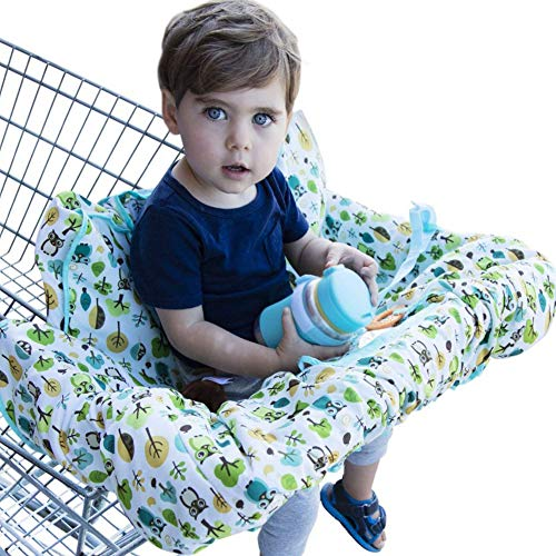 Shopping Cart Cover for Baby or Toddler - 2-in-1 High Chair Cover - Best 100% Germ Protection - Unisex Design for Boy or Girl - Fits Large Carts - Machine Washable - Folds Into Compact Carry Bag - Owl