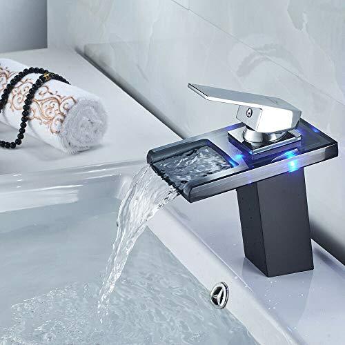 RANZIX 3 Farben LED Waschtischarmatur aus Glas Wasserhahn Wasserfall Bad Waschbecken Schwarz Mischer Spüle Waschtisch Einhebelmischer für Badezimmer
