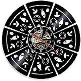 Reloj de pared de vinilo con diseño de setas y pizzas para teatro en casa, regalos para niños, dormitorio, decoración de arte 12 CD de vinilo reloj de cuarzo