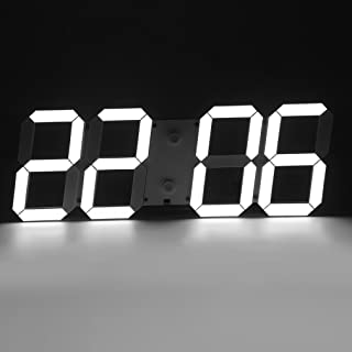 Modern Minimalist Jumbo LED Digital Skeleton Wall Clock PLUS with Thermometer, Calendar, Alarm, Countdown, Timer for Home/Airport/Gymnasium (White)