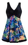 Wantdo Bañador Vestido de Playa Tankini con Falda 1 Pieza para Mujer Flor de Hoja 42-44