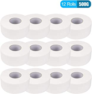 Anself 12 Rolls 4 Layers 90mm*130mm Wood Pulp Bath Tissue Paper Household Toilet Paper Roll with Core Breakpoint for Home Hotel Supermarket 500g