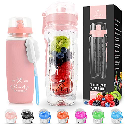 Zulay (34oz Capacity) Fruit Infuser Water Bottle With Sleeve - BPA Free Anti-Slip Grip & Flip Top Lid Infused Water Bottles for Women & Men - Water Infusion Bottle With Cleaning Brush - Cotton Candy