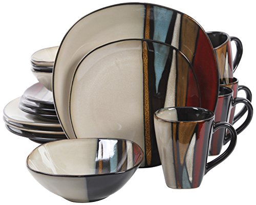 Gibson Elite 92913.16RM Althea 16 Piece Reactive Glaze Dinnerware, Multicolor