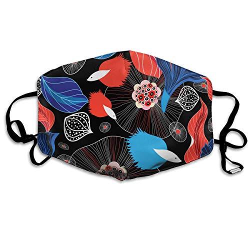 Dnwha material de poliéster, patrón abstracto gráfico con peces, co