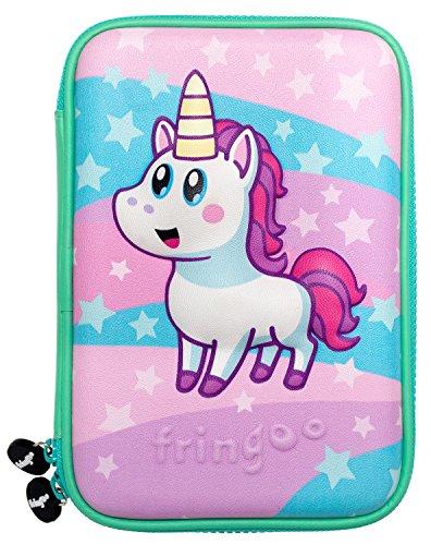 FRINGOO® astuccio grande con coperchio rigido in rilievo per bambini Multi-compartimento Doppia zip design divertenti Borsellino per penne