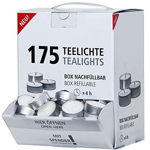Smart Planet® Kerzen Ambiente - 175er Set im Spender Teelichter Box Großpackung mit Langer Brenndauer - Teelicht weiß in Aluminium Hülle